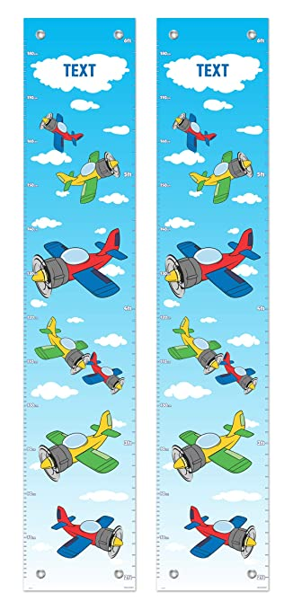 Amazon Com Kids Room Decor Airplane Growth Chart For Kids Propeller Plane Set 2 Pack Personalized Growth Chart Baby