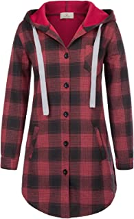 Women Long Sleeve Hooded Jacket Flannel Plaid Button Down Shirt Top with Pockets