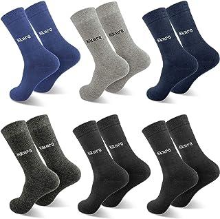 HIKARO, Marca Amazon Calcetines para Hombre y Mujer, 6 pares, Color Negro Algodón Cintura Larga Cómoda