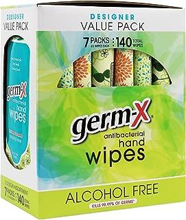 Germ-X Antibacterial Hand Wipes Designer Pack - 7 packs - 140 Total Wipes