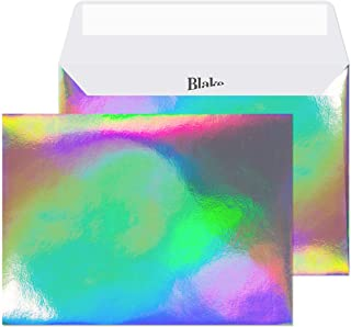 Blake Creative Shine Holographic A7 Invitation Envelopes, 5 1/4 x 7 1/4 Inches, Shimmering Rainbow Pearlescent, Peel & Sea...