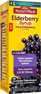 Nature Made Elderberry Syrup 3.8g with Vitamin C and Zinc for Immune Support Help, Suitable for Vegetarians, Blueberry Pom...