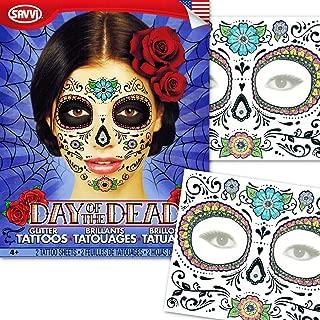 Day of the Dead Temporary Tattoos Costume Kit (Set of 2 Sugar Skull Tattoos, Flower Design)