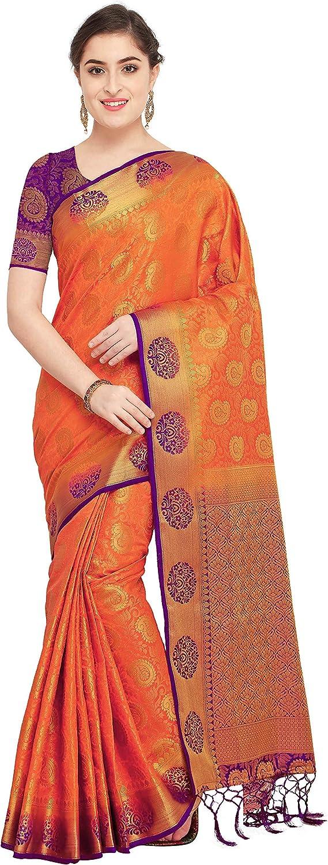 Rajnandini Women's Silk Zari Weaving Work Kanjivaram Rich Pallu Saree With Blouse (JOPLNS2001E_Yellow_Free Size)