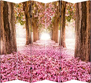 TOA 6 Panel Office Wood Folding Screen Decorative Canvas Privacy Partition Room Divider, Pink Pathway
