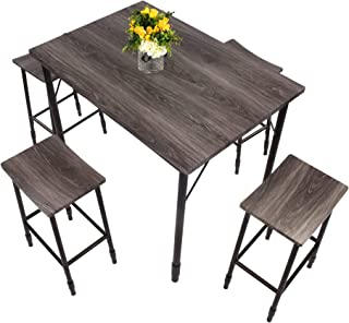 Dporticus 5-Piece Dining Set Industrial Style Wooden Kitchen Table and Chairs with Metal Legs (Style e)