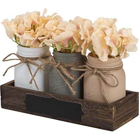 Kinetics Mason Jar Dining Table Centerpiece With Blackboard Label Ideal For Dining Room Table Kitchen Living Room Or Coffee Table Décor Wooden Tray Beautiful Flowers Decoration Home Improvement