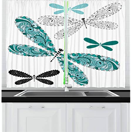 Ambesonne Dragonfly Kitchen Curtains Ornamental Dragonfly With Lace And Damask Effects Image Window Drapes 2 Panel Set For Kitchen Cafe Decor 55 X 39 Black Turquoise Home Kitchen