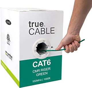 trueCABLE Cat6 Riser (CMR), 1000ft, Green, 23AWG 4 Pair Solid Bare Copper, 550MHz, ETL Listed, Unshielded Twisted Pair (UTP), Bulk Ethernet Cable