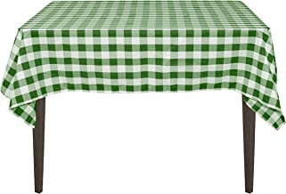 LinenTablecloth 54-Inch Square Polyester Tablecloth Green & White Checker