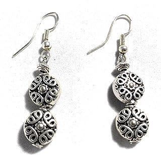 Pecten - Earrings for women/Pendientes Mujer Pendiente con 2 adornos en plata tibetana