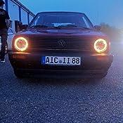 Carparts Online 12864 Klarglas Angel Eyes Scheinwerfer Schwarz Fk Auto