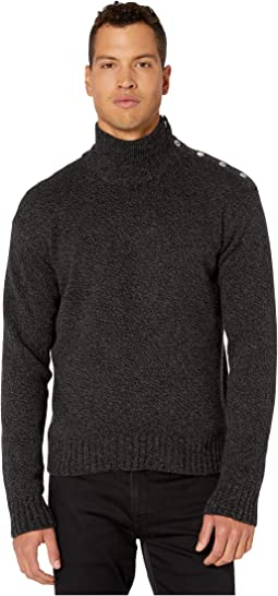 High Neck Sweater with Buttons On Shoulders