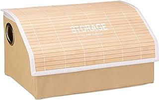 Relaxdays Faltbox Deckel, faltbarer Aufbewahrungskorb, Bambusdeckel, Ordnungsbox mit Griffen, Vintage Design, Natur Boîte ...