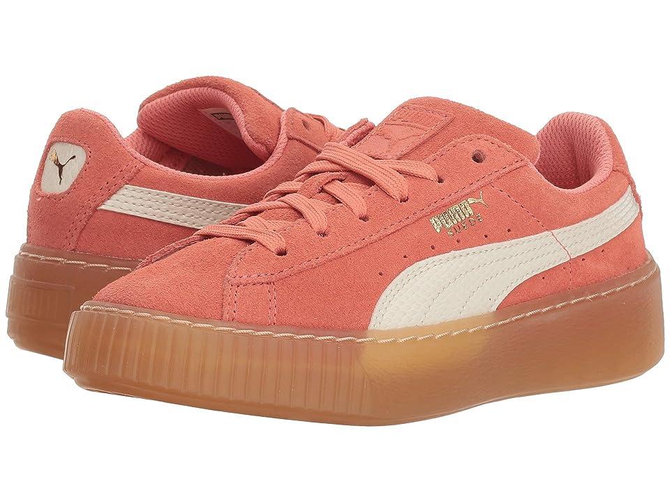 Puma Kids Suede Platform SNK (Little Kid/Big Kid) (Shell Pink/Whisper White) Girls Shoes
