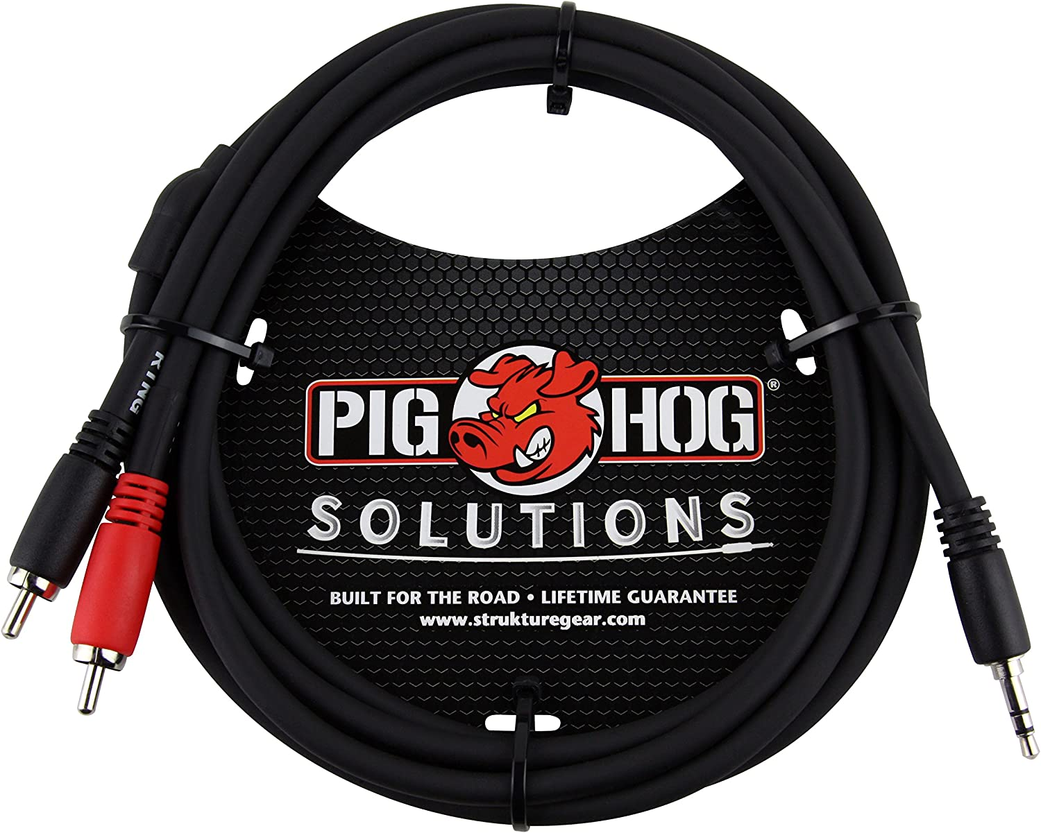 6 Feet Male Stereo Breakout Cable Pig Hog PB-S3R06 3.5 mm to Dual RCA