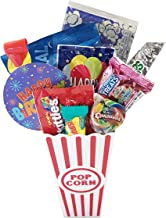 Golden Gift Box - Movie Night Popcorn and Candy Birthday Gift Basket Plus Free Redbox Movie Rental Code Gift Card - Includes Popcorn Bucket, Movie Theater Popcorn and Candy Snacks (Happy Birthday!)