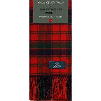 Lambswool Scottish Robertson Red Modern Tartan Clan Scarf Gift