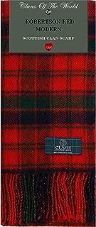 Robertson Red Modern Tartan Clan Scarf 100% Soft Lambswool