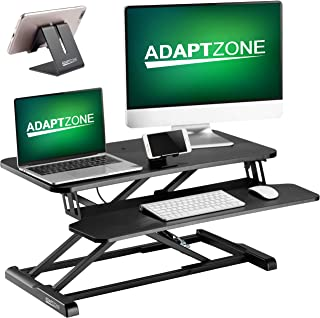 ADAPTZONE Standing Desk Converter with Free Phone Stand, 32 Inch Height Adjustable Sit Stand Up Desk, Dual Monitor Workstation and Laptop Riser