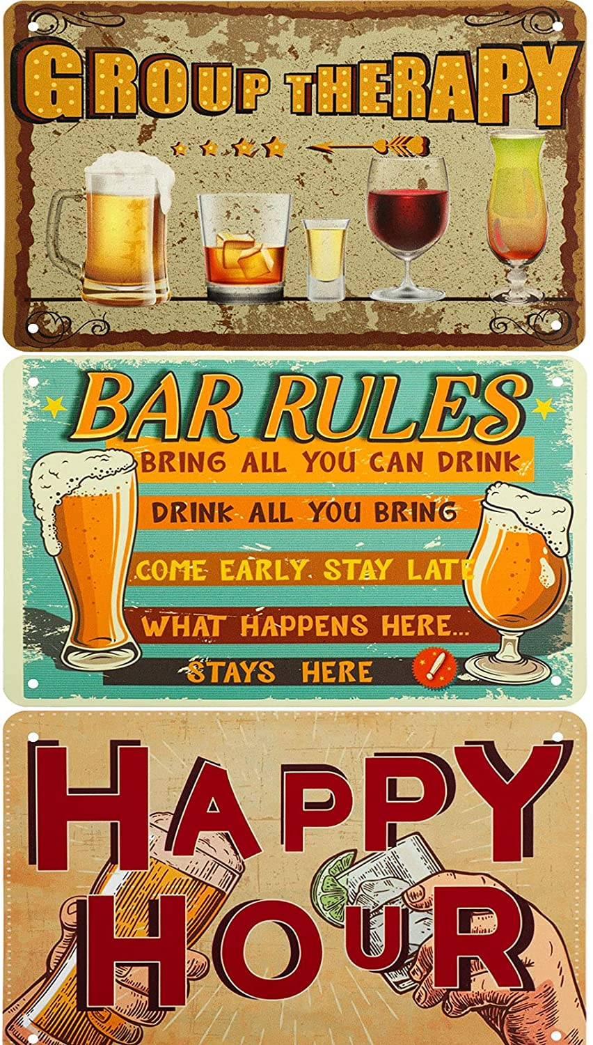 3 Pieces Rustic Retro Vintage Design Bar Rules Art Signs Metal Tin Sign Poster Tinplate Print Wall Decoration for Home Bar Pub Small Restaurant