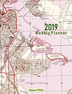 2019 Weekly Planner: Boston (1954): Vintage Topo Map Cover