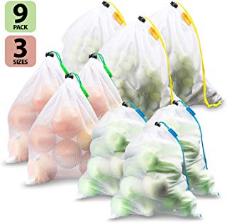 Reusable Mesh Produce Bags - Set of 9, Premium Mesh Bags Washable, See Through, Tare weight label , Keep fruits, vegetables & grocery bag ,Organize household, Large, Medium & Small, By Suppaware