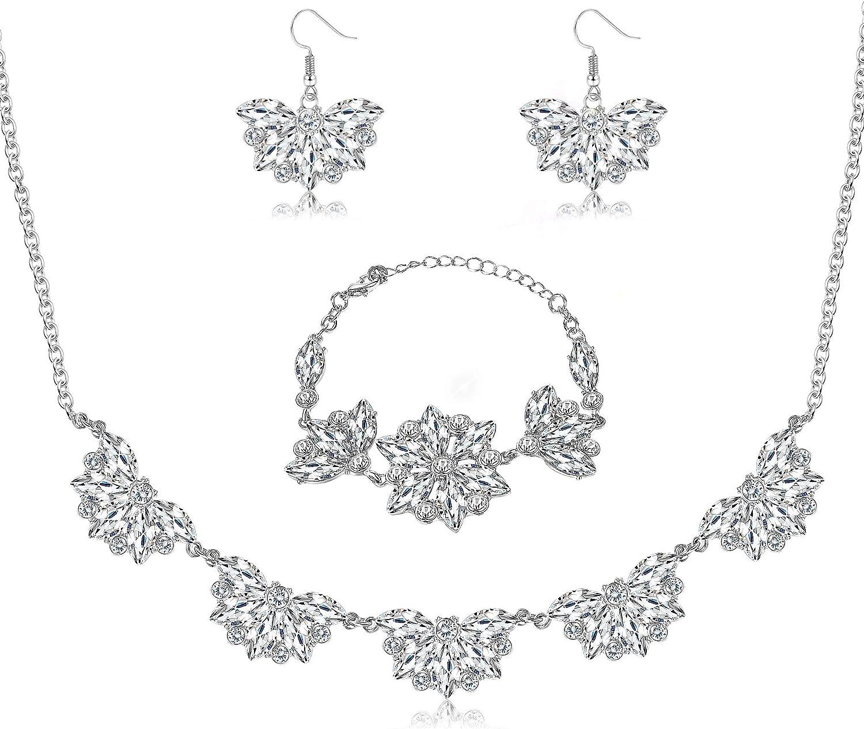Hanpabum Rhinestone Jewelry Set for Bridesmaid Bridal Wedding Necklace Bracelet Earrings Crystal Party Jewelry for Women