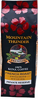 100% Kona Coffee - Private Reserve - Whole Bean - French Roast - 16 Ounce Bag - by Mountain Thunder Coffee Plantation