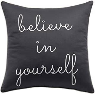 "Trivenee Tex Pillowcase Embroidered Funny Inspirational Quote Throw Pillow Cover Decorative Pillowcase for Couch Sofa Gift for Graduation Teen Boys Girls Christmas (Believe(Grey), 18""X18"")"