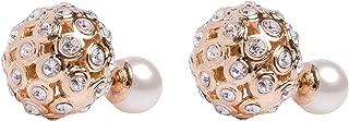 Faux Imitation Pearl Designer Celebrity Double Ball Earrings