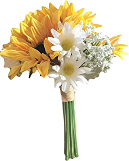 Yellow Silk Sunflowers, Daisies & Baby Breath Bouquet, 9.5 inches tall