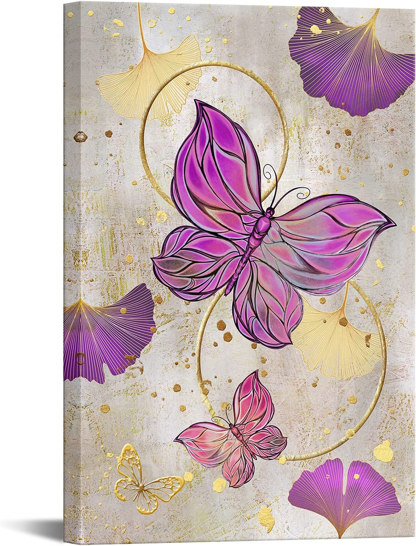 RyounoArt Butterfly Wall Max 81% OFF Art Painti Long Beach Mall Canvas Gold Purple