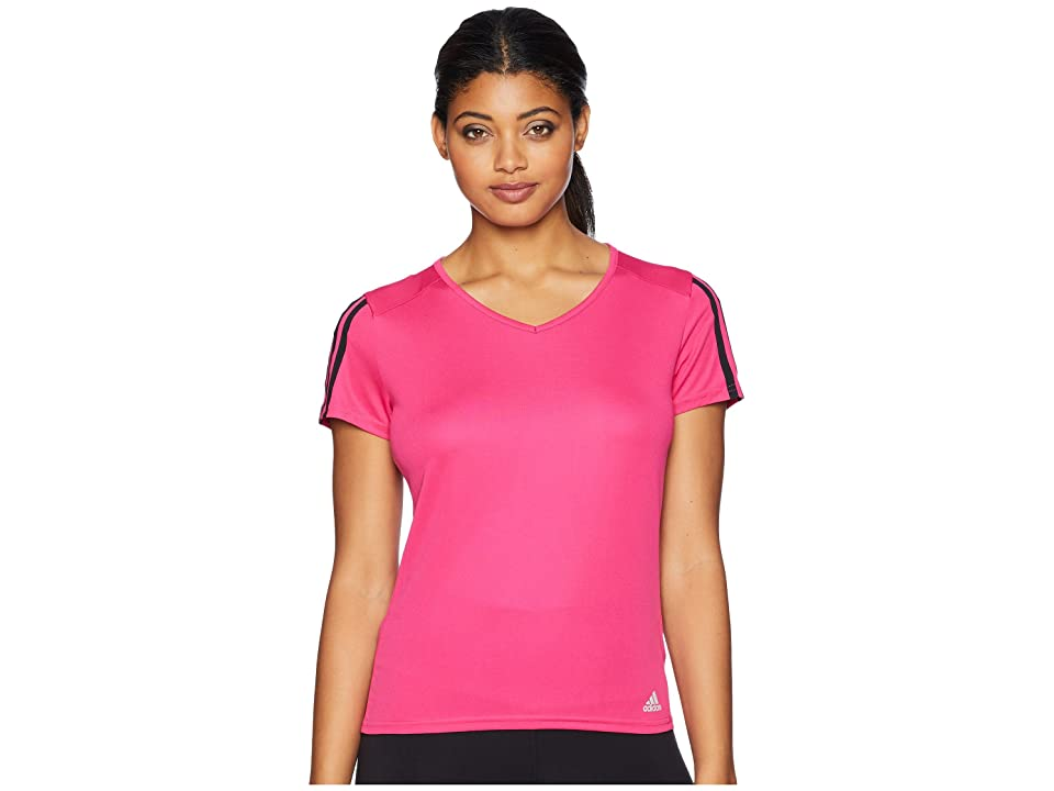 adidas 3-Stripes Run Tee (Real Magenta/Black) Women
