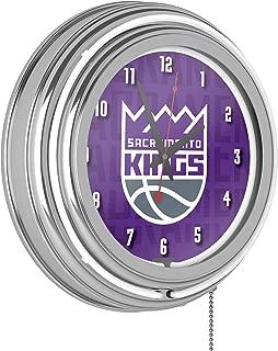 Trademark Global NBA Chrome Double Rung Neon Clock - City - Sacramento Kings
