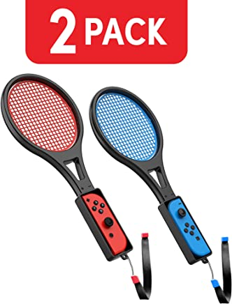 Nintendo Switch Tennis Racket (2 Pack) by TalkWorks | Joy Con Controller Grip Sports Game Accessories for Mario Tennis Aces