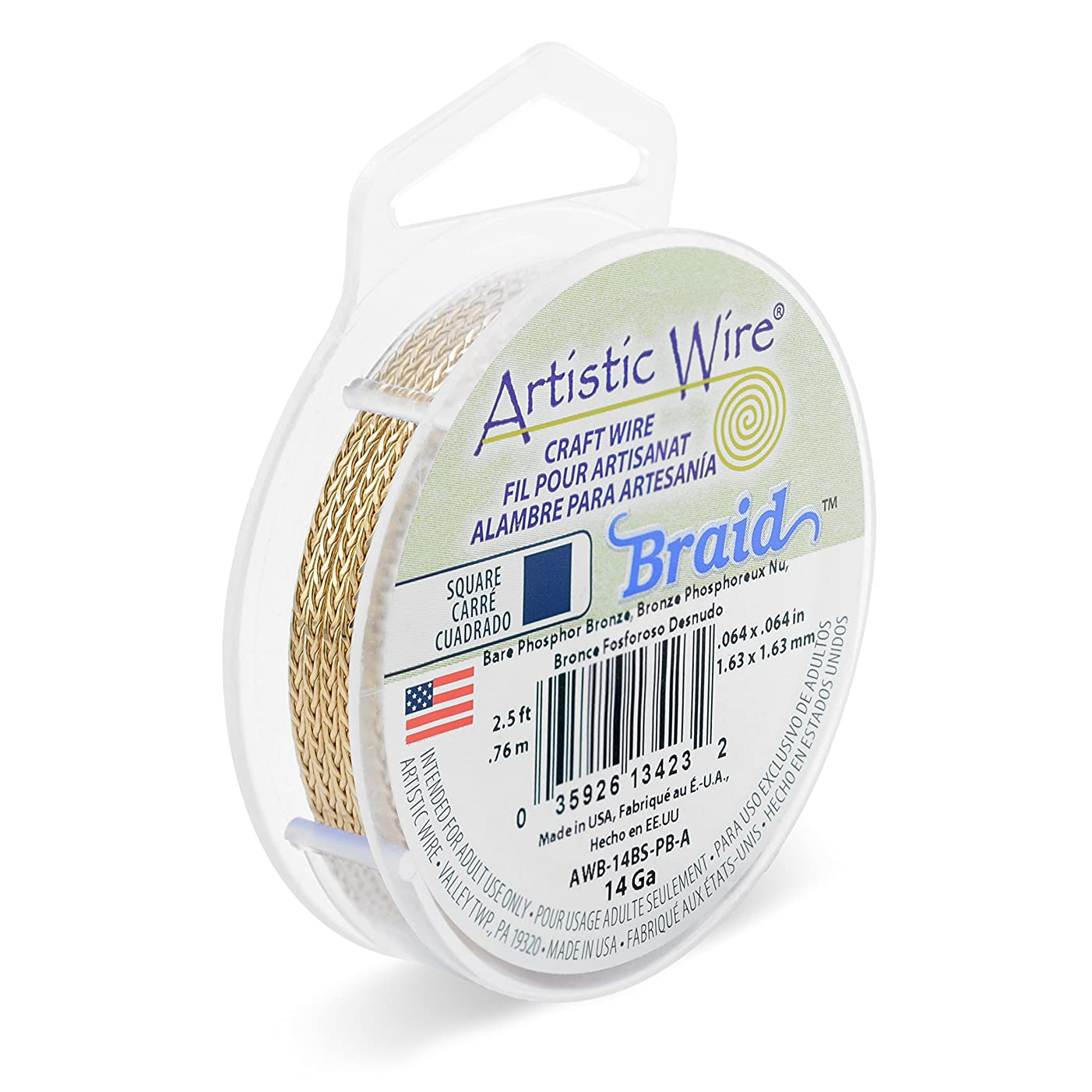 Artistic Wire 14 Gauge, Bare Phosphor Bronze, 2.5 ft Square Braid,