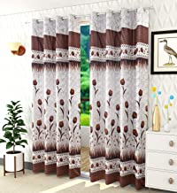 Homefab India Set of 2 Polyester Floral Brown Door Curtains - 7 Ft