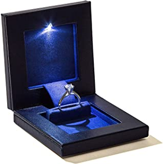 Parker Square Secret Night Box Light up LED, The World's Best Slim Engagement Ring Box