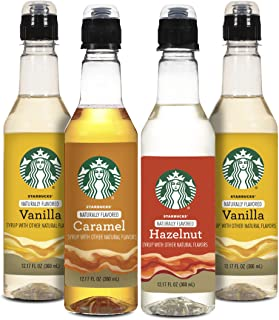Starbucks Naturally Flavored Coffee Syrup Variety Pack, 2 Vanilla, 1 Hazelnut, 1 Caramel (4 Bottles Total)