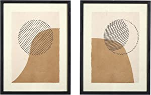 Main + Mesa Wood Framed Handmade Paper Abstract Wall Art Décor, Set of 2, 11.75