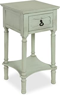 Kate and Laurel Marcella Classic Nightstand Side End Table with Drawer and Lower Shelf, Vintage Pastel Green