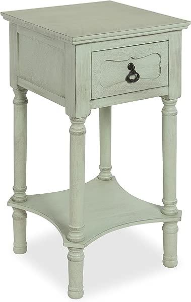 Kate And Laurel Marcella 经典床头柜侧端桌带抽屉和下架复古粉彩绿色