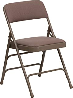Flash Furniture HERCULES Series Curved Triple Braced & Double Hinged Beige Fabric Metal Folding Chair