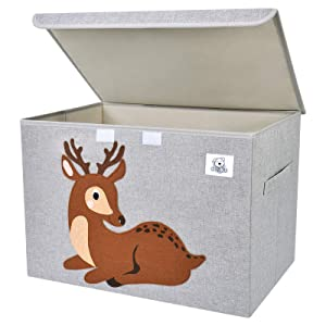 CLCROBD Foldable Large Kids Toy Chest with Flip-Top Lid, Collapsible Fabric Animal Toy Storage Organizer/Bin/Box/Basket/Trunk for Toddler, Children and Baby Nursery (Deer)