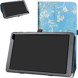 Barnes & Noble Nook Tablet 10 Case,Bige PU Leather Folio 2-Folding Stand Cover for Barnes & Noble Nook Tablet 10 (BNTV650) 10.1-inch Tablet,Almond Blossom