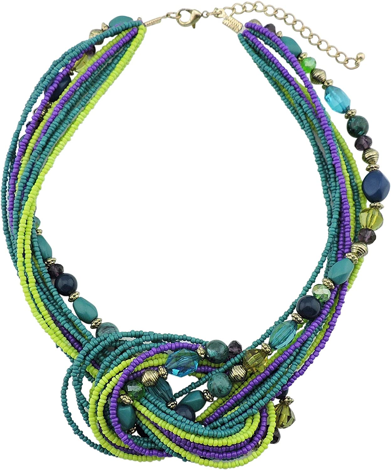 Firstmeet FIRSTMET Seed Beads Antique Gold Multi-Layer Statement Collar Knot Necklace