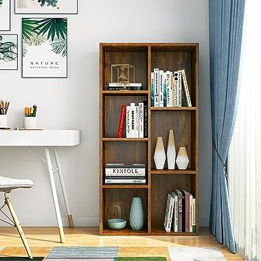 Aheaplus Bookcase Storage Shelves 7-Cube Organizer Bookshelf Cube Compartments Floor Standing Wood Open Bookshelves for Offic
