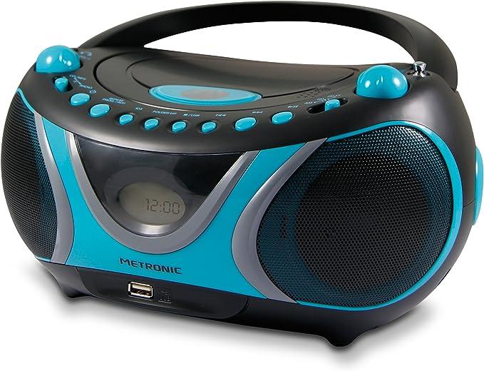 Metronic 477118 Boombox Sportman - Minicadena (Reproductor de CD/MP3, Radio, USB, 2 W), Color Azul y Negro (Importado)