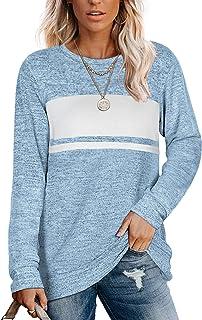 Womens Sweatshirts Crewneck Color Block Sweaters Long...